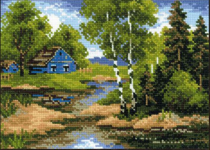 Вышивка крестом пейзаж домик 12