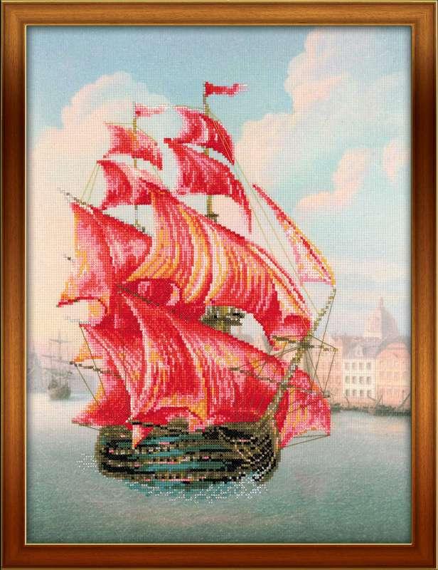 Корабль парусник в вышивке 220