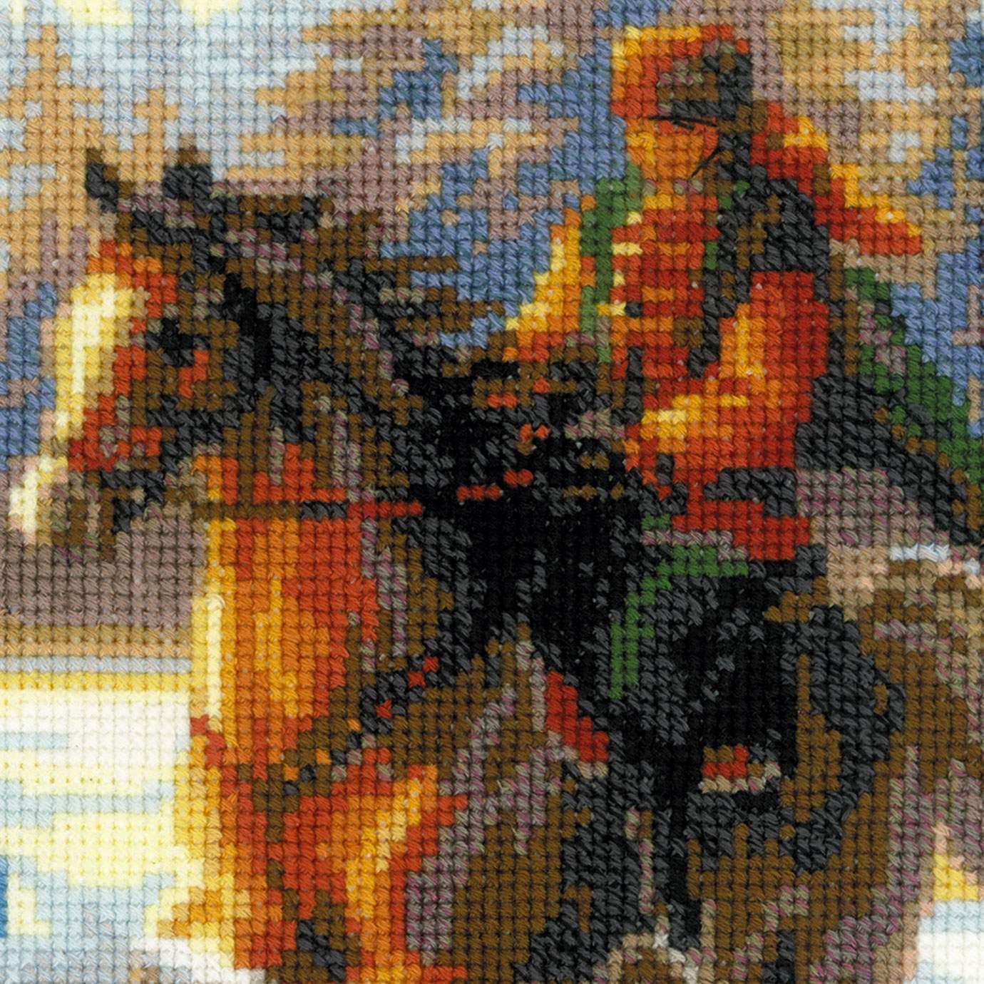 Картина русская охота вышивка 51