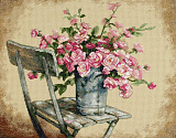 35187 Розы на белом стуле (Roses on white chair)