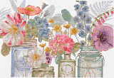 BL1167/76 Watercolor flowers in jars (DMC)